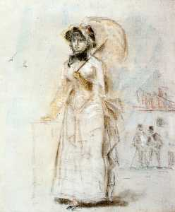 Young Woman Taking a Walk, Holding an Open Umbrella