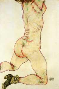 Kneeling Female Nude, Back View