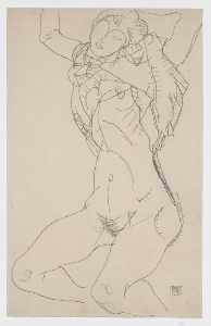 Reclining Semi-Nude with Arms Raised