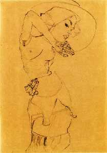 Standing Nude with Large Hat (Gertrude Schiele)