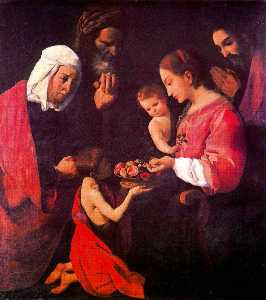 La Sagrada Familia, santa Ana, san Joaquín y san Juan Bautista