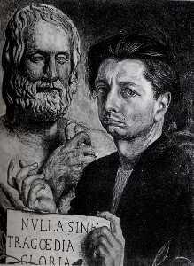 Autoportrait avec le buste de Eudipide