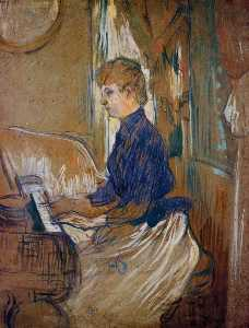 At the Piano - Madame Juliette Pascal in the Salon of the Chateau de Malrome