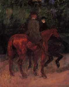 Man and Woman Riding through the Woods