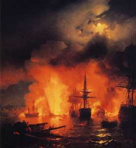 Battle of Çesme at Night