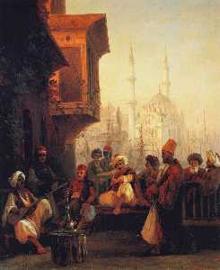 Coffee-house by the Ortaköy Mosque in Constantinople