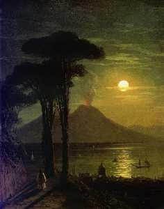 The Bay of Naples at moonlit night. Vesuvius