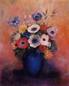 一束鲜花 在  一个  蓝色  花瓶