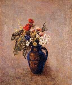 bouquet di fiori in a blu vaso
