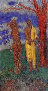 Two Women under a Red Tree