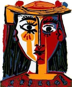 Busto di donna con  cappello