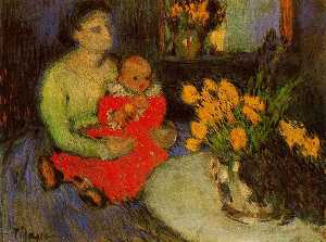 Mother and child with flowers