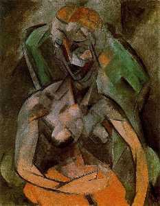 Mujer desnuda sentada fr onu sillón