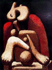 Mujer en sillón rojo