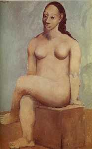 Seated nude woman with crossed legs