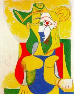 Seated Woman with yellow and green hat