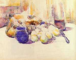Blue Pot and Bottle of Wine (aka Still Life with Pears and Apples, Covered Blue Jar, and a Bottle of Wine)