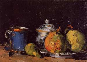 Sugar Bowl, Pears and Blue Cup