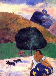 paysage avec noirs  porcs  et  une  Accroupi  tahitien