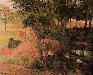 景观带 奶牛  在  一个  果园