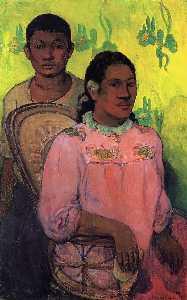 Tahitian woman and boy