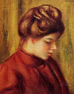 Perfil de una mujer en una blusa roja