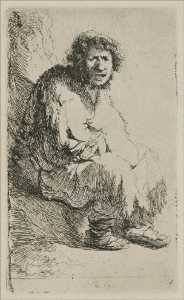 A Beggar Sitting on a Hollock, with his Mouth Open