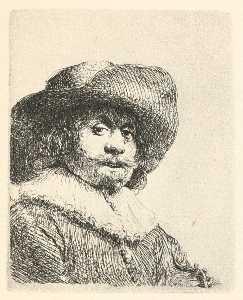 ein porträt von einem Mann mit einem Broad-Brimmed Hut und ein Krause