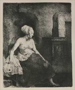 A Woman Seated Before a Dutch Stove