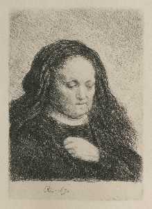 Rembrandt's Mère dans un noir Robe , comme petit upright imprimer