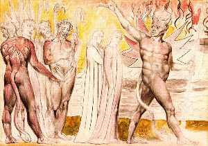 Dante y Virgilio emprenden el camino, escoltados por los diablos