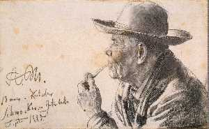 Study of a Man in a Hat with a Pipe