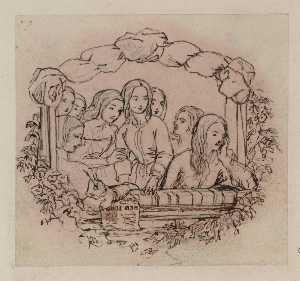 the box opéra , la conception pour une gravure sur bois . Traçage , à partir de la principale figure in reverse
