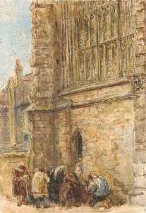 Figures Receiving Alms At The Church Door