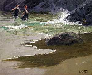 Bathers by a Rocky Coast