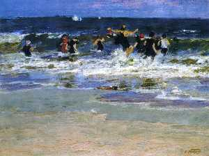 Beach Scene, Jumping in the Surf