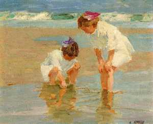 Girls Playing in Surf