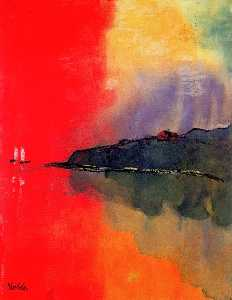 Seacoast (Red Sky, Two White Sails)
