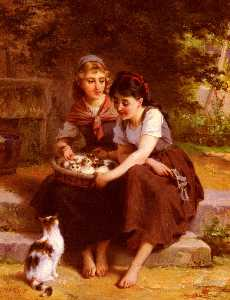 Two Girls With A Basket Of Kittens