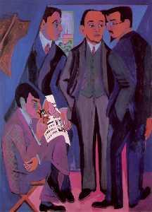 A Group of Artists. Otto Mueller, Kirchner, Heckel, Schmidt-Rottluff