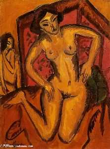Female Nude Kneeling before a Red Screen