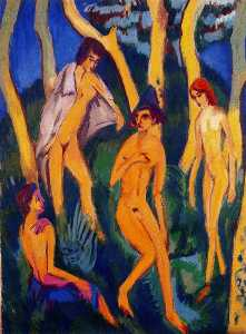 Four nudes under the trees