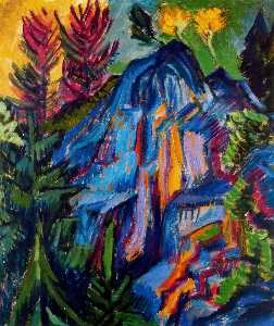 Landscape with blue rocks