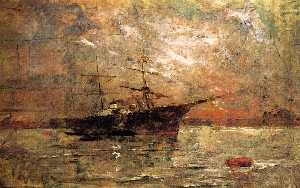 Steamer at Anchor, Twilight, Venice