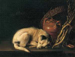 Sleeping Dog with Terracotta Jug, Basket and Kindling Wood
