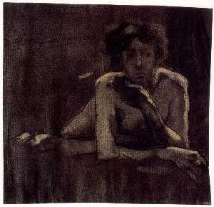 Nude female figure, lying