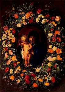 Madonna and Child surrounded by a wreath
