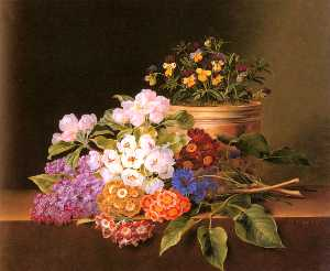 Apple Blossoms, Lilac, Violas, Cornflowers and Primroses on a Ledge