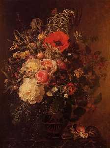 静物 用鲜花 在 希腊 花瓶