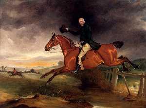 Grimston de m george marriott sur ses baie chasseur prendre un Barrière
